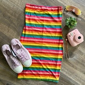 🌈 Wild Honey Rainbow Striped Suede Dress